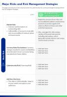 One Page Major Risks And Risk Management Strategies Presentation Report Infographic PPT PDF Document