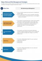 One Page Major Risks And Risk Management Strategies Template 470 Report Infographic PPT PDF Document