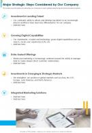 One Page Major Strategic Steps Considered By Our Company Presentation Report Infographic PPT PDF Document