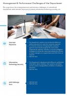 One Page Management And Performance Challenges Of The Department Infographic PPT PDF Document