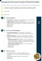 One Page Managements Discussion And Analysis Of Financial Condition Infographic PPT PDF Document