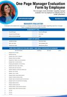 One Page Manager Evaluation Form By Employee Presentation Report PPT PDF Document