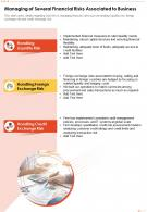 One Page Managing Of Several Financial Risks Associated To Business Report Infographic PPT PDF Document