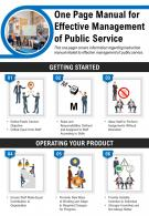 One Page Manual For Effective Management Of Public Service Presentation Report Infographic PPT PDF Document