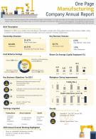 One Page Manufacturing Company Annual Report Presentation Report Infographic PPT PDF Document