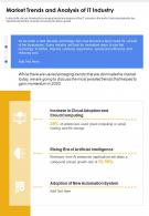 One Page Market Trends And Analysis Of It Industry Presentation Report Infographic PPT PDF Document