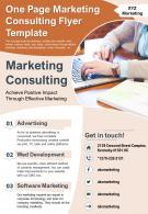 One Page Marketing Consulting Flyer Template Presentation Report PPT PDF Document
