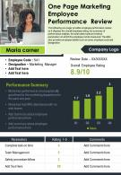 One Page Marketing Employee Performance Review Presentation Report Infographic PPT PDF Document