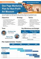 One Page Marketing Plan For Non Profit Art Museum Presentation Report Infographic PPT PDF Document