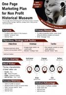 One Page Marketing Plan For Non Profit Historical Museum Presentation Report Infographic PPT PDF Document