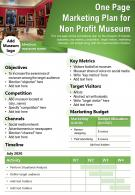 One Page Marketing Plan For Non Profit Museum Presentation Report Infographic PPT PDF Document