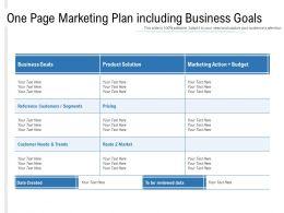 One Page Marketing Plan Including Business Goals