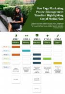 One Page Marketing Project Management Timeline Highlighting Social Media Plan Report Infographic PPT PDF Document