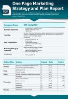 One Page Marketing Strategy And Plan Report Presentation Report Infographic PPT PDF Document