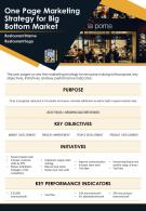 One Page Marketing Strategy For Big Bottom Market Presentation Report Infographic PPT PDF Document