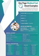 One Page Medical Fact Sheet Example Presentation Report Infographic PPT PDF Document