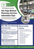 One Page Medical Pharmacy Services Information Flyer Presentation Report Infographic PPT PDF Document