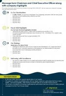 One Page Message Form Chairman And Chief Executive Officer Along With Company Highlights Infographic PDF Document