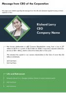 One Page Message From CEO Of The Corporation Template 351 Infographic PPT PDF Document