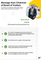 One Page Message From Chairman Of Board Of Trustees Presentation Report Infographic PPT PDF Document