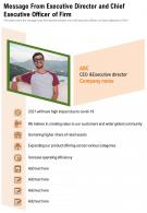 One Page Message From Executive Director And Chief Executive Officer Of Firm Infographic PPT PDF Document