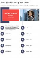 One Page Message From Principal Of School Presentation Report Infographic PPT PDF Document