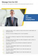 One Page Message From The CEO Template 411 Presentation Report Infographic PPT PDF Document