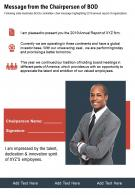 One Page Message From The Chairperson Of Bod Presentation Report Infographic PPT PDF Document