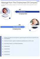One Page Message From The Chairwomen Of Company Presentation Report Infographic PPT PDF Document