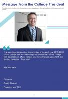 One Page Message From The College President Presentation Report Infographic PPT PDF Document