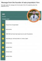 One Page Message From The Founder Of Sole Proprietors Firm Report Infographic PPT PDF Document