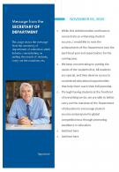 One Page Message From The Secretary Of Department Presentation Report Infographic PPT PDF Document