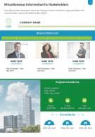 One Page Miscellaneous Information For Stakeholders Template 316 Report Infographic PPT PDF Document