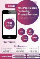 One Page Mobile Technology Product Overview Presentation Report Infographic PPT PDF Document