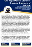 One Page Modern Literature Graduate Statement Of Purpose Presentation Report Infographic PPT PDF Document