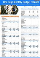 One Page Monthly Budget Planner Presentation Report Infographic PPT PDF Document