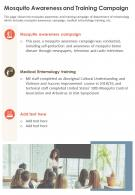One Page Mosquito Awareness And Training Campaign Presentation Report Infographic PPT PDF Document