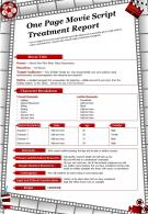 One Page Movie Script Treatment Report Presentation Report Infographic PPT PDF Document