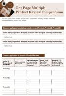 One Page Multiple Product Review Compendium Presentation Report PPT PDF Document