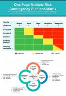 One Page Multiple Risk Contingency Plan And Matrix Presentation Report Infographic PPT PDF Document