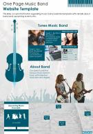 One Page Music Band Website Template Presentation Report Infographic PPT PDF Document