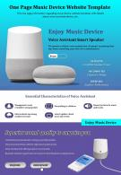 One Page Music Device Website Template Presentation Report Infographic PPT PDF Document
