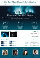 One Page Music Theatre Website Template Presentation Report Infographic PPT PDF Document