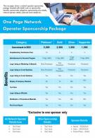 One Page Network Operator Sponsorship Package Presentation Report Infographic PPT PDF Document