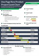 One Page New Product Project Gantt Chart Presentation Report Infographic PPT PDF Document