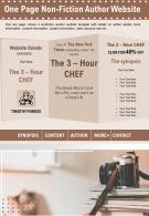 One Page Non Fiction Author Website Presentation Report Infographic PPT PDF Document