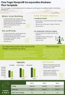 One Page Nonprofit Incorporation Business Presentation Report Infographic PPT PDF Document