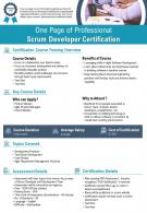 One Page Of Professional Scrum Developer Certification Presentation Report PPT PDF Document