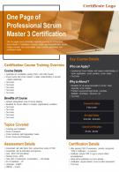 One Page Of Professional Scrum Master 3 Certification Presentation Report PPT PDF Document