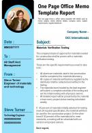 One Page Office Memo Template Report Presentation Report Infographic PPT PDF Document